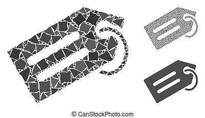 icône, étiquette, mosaïque, cahoteux, articles