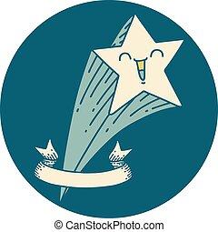 icône, étoile filante, style, tatouage