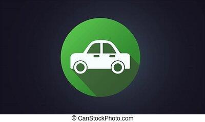 icône, 4k, isolé, vidéo, électrique, graphique, voiture bleue, mouvement, vert, arrière-plan.