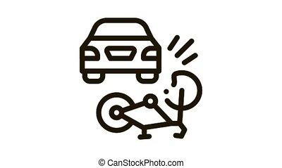icône, accident voiture, animation, vélo