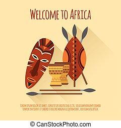 icône, affiche, afrique, accueil, plat