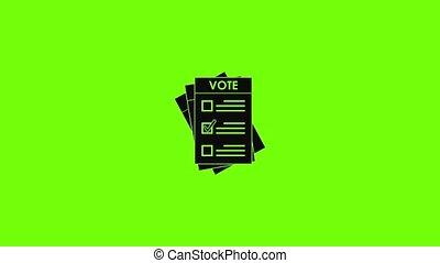 icône, animation, élection, papier