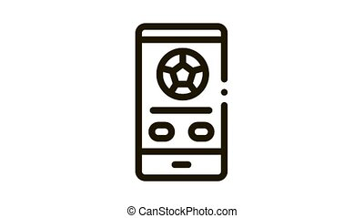 icône, animation, allumette, téléphone, football