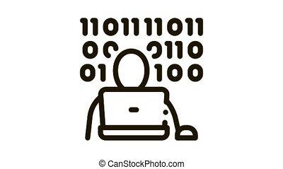 icône, animation, code, binaire