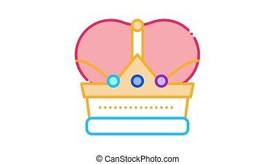 icône, animation, couronne, royal