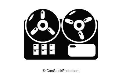 icône, animation, magnétophone, bobine