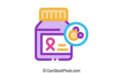 icône, animation, pilules, cancer