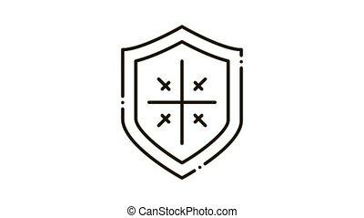 icône, animation, protection, bouclier