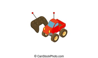 icône, animation, radio-controlled, voiture