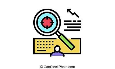 icône, animation, recherche, cible, couleur, marché