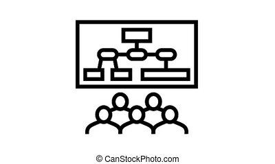 icône, animation, recherche, ligne, marché, réunion