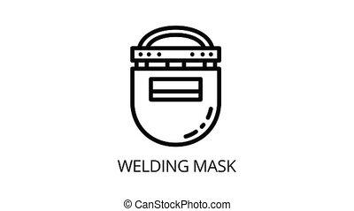 icône, animation, soudure, plastique, masque