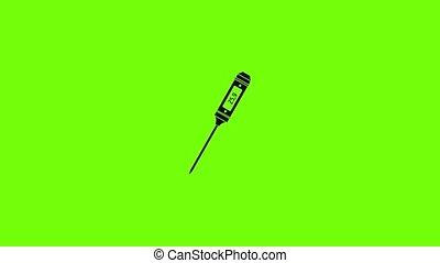 icône, animation, thermomètre, mince