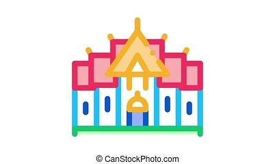 icône, animation, traditionnel, thaï, bâtiment