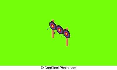 icône, animation, triple, cible tir arc
