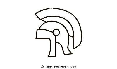 icône, antiquité, animation, casque