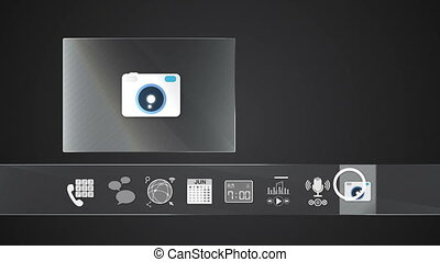icône, appareil photo, application, mobile