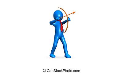 icône, archer, animation, homme affaires