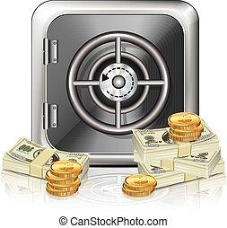 icône, argent, sûr