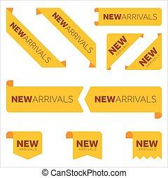 icône, arrivée, ensemble, différent, rubans, nouveau, jaune, plat