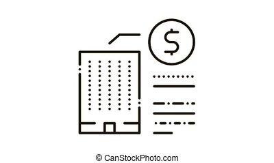 icône, bâtiment, cout, animation