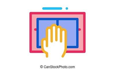 icône, balayage, animation, main