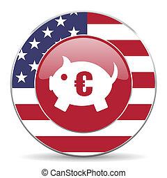 icône, banque, américain, porcin