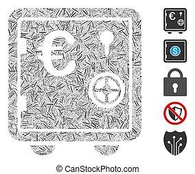 icône, banque, euro, collage, sûr, tiret