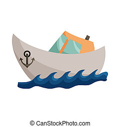 icône, bateau, style, dessin animé