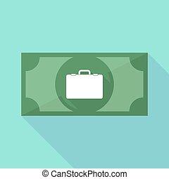 icône, billet banque, breiefcase, long, ombre