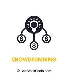 icône, blanc, crowdfunding