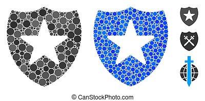 icône, bouclier, garde, cercles, mosaïque