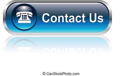 icône, bouton, nous contacter