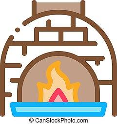 icône, brulure, vecteur, four, illustration, flamme, contour