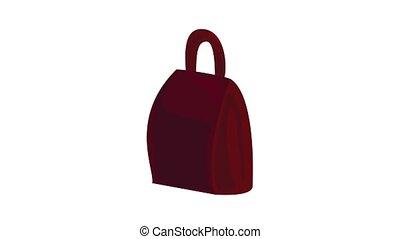 icône, brun, sac à dos, animation