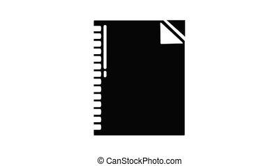 icône, cahier, animation