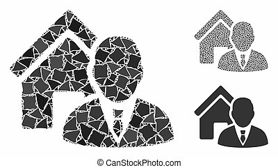 icône, cahoteux, morceaux, mosaïque, agent immobilier