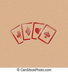 icône, carte, -, football, halftone