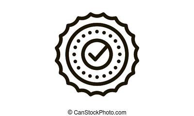 icône, cas, approbation, animation