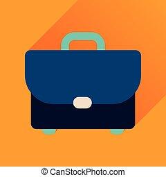 icône, cas, long, business, ombre, plat