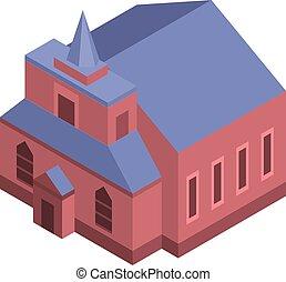 icône, catholique, isométrique, style, église