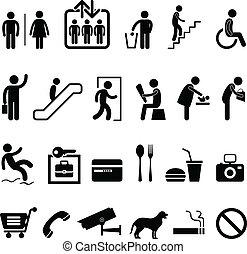 icône, centre commercial, signe, public