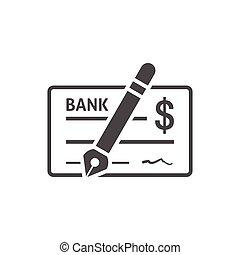 icône, chèque, plat, banque