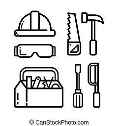 icône, charpentier, ensemble
