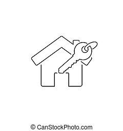 icône, clef maison, vecteur, ligne, white.