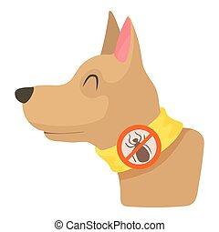 icône, collier, style, dessin animé, chien
