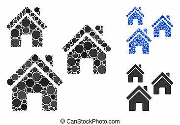 icône, composition, bâtiments, cercles, village