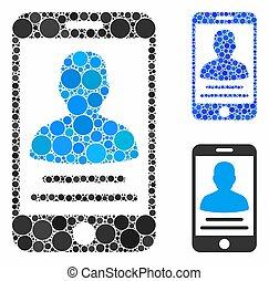 icône, composition, compte, mobile, cercles