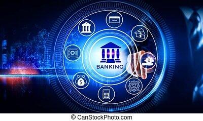 icône, concept, banque