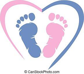 icône, conception, footprint.